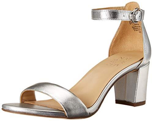 Naturalizer Women's Vera Heeled Sandal, Silver Leather, 6.5
