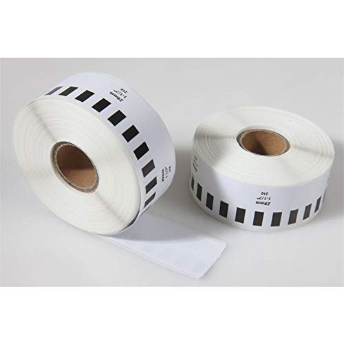 2x etiketten compatibel met Brother DK22210 29 mm x 30,48 m continu