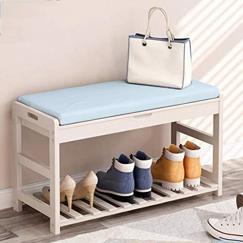 ZXL Meubels schoenenrek, houten schoen bank opslagrek schoenenkast met zitkussen voor de gang slaapkamer 73,5 * 30 * 45 cm (kleur: hout kleur, maat: 2 dier)