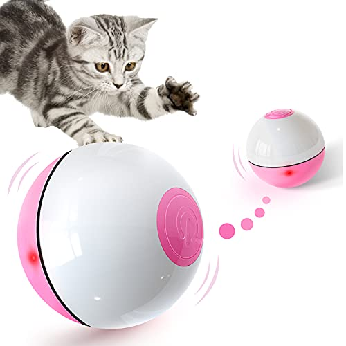 PUHOHUN Juguete Interactivo de Bola Eléctrica de para Gatos Rotación automática de 360 grados Recargable por USB Bolas de juguete para mascotas con luces LED ABS ecológico