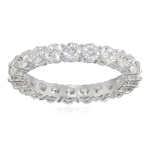 Platinum-Plated Sterling Silver All-Around Band Ring set with Round Swarovski Zirconia (2 cttw), Size 8