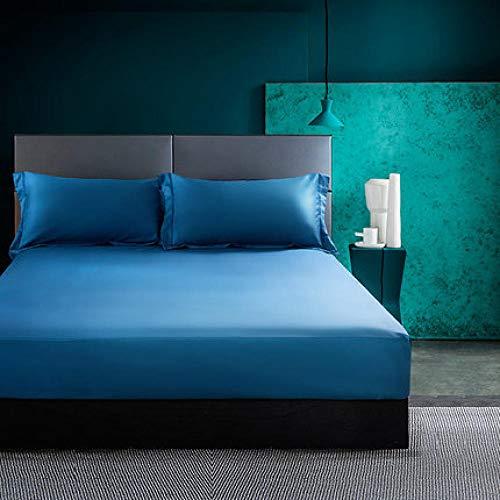 LCFCYY Sábana Bajera Ajustable,Sábanas de algodón de poliéster Suave, Protector de colchón de Color sólido Antideslizante a Prueba de Polvo para Dormitorio Hotel Blue 100 * 200cm