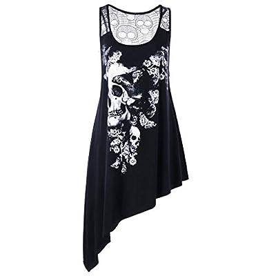TWGONE Asymmetric Hem Dresses for Women Plus Size Scoop Neck Skull Printed Hollow Out Tank Top Vest(XX-Large,Black) by