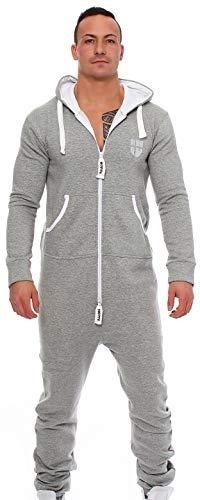 Gennadi Hoppe Herren Jumpsuit Onesie Jogger Einteiler Overall Jogging Anzug Trainingsanzug Slim Fit,hell grau,Medium