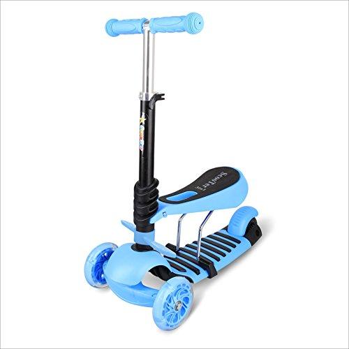 BAYTER Baytter 3 in 1 Mini Mitwachsender Dreirad Kinderroller Laufrad zum Laufenlernen LED Räder Scooter aus Aluminiumlegierung für Kinder von 2-5 Jahren in DREI Höhen Verstellbar (blau)