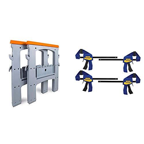AmazonBasics Folding Sawhorse - Set of 2, 900 Pound Capacity & IRWIN QUICK-GRIP Clamps, One-Handed, Mini Bar, 6-Inch, 4-Pack (1964758)