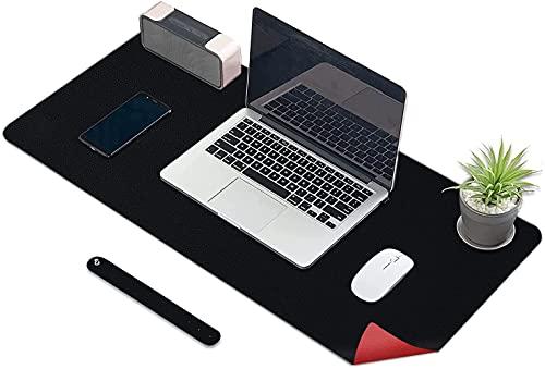 KINGFOM Alfombrilla de escritorio, protector mesa escritorio, tapete escritorio grande alfombrilla de ratón de Cuero PU (Negro + Rojo, 120x60cm)