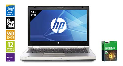 HP Elitebook 8470p Notebook | 14 Zoll Display | Intel Core i5-3210M @ 2,5 GHz | 8GB DDR3 RAM | 250GB SSD | DVD-Brenner | Windows 10 Pro (Generalüberholt)