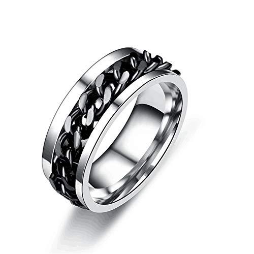 Huaji La cadena giratoria de los hombres anillos de acero de titanio alivia la joyería del estrés