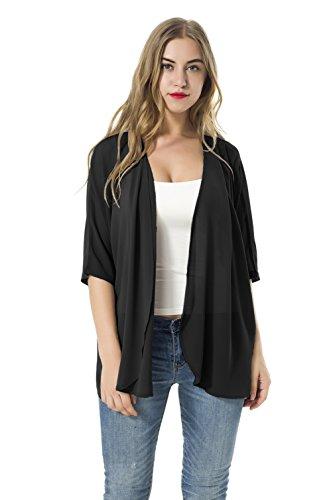Las mujeres sueltan las chaquetas de la rebeca de la gasa del kimono del mantón de las blusas (L, negro)
