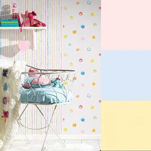 Fröhliche ESPRIT Papiertapete Bunte Punkte Streifen Baby Kinderzimmer Tapete Wand Bordüre Kinderzimmertapete Made in Germany (10.05 m x 0.53 m, Papiertapete Rosa)