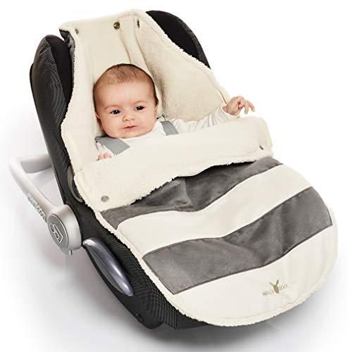 Wallaboo Fußsack, 0-12 Monaten, Universal für Babyschale, Autositz, z.B. für Maxi-Cosi, Römer, für Kinderwagen, Buggy oder Babybett, Farbe: Getreift Grau