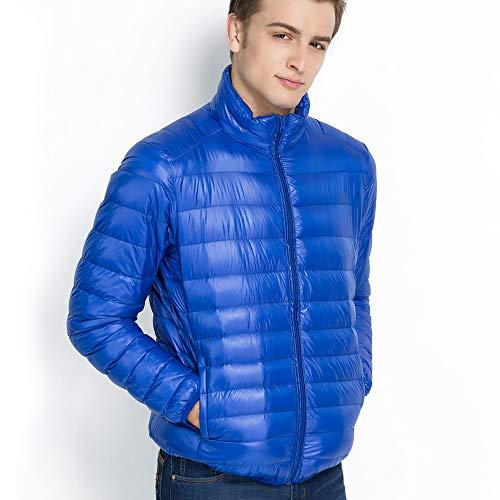 Vegena Herren Daunenjacken,Ultraleicht Sport Jacke,Stehkragen Jacke mit kleine Aufbewahrungstasche Blau M