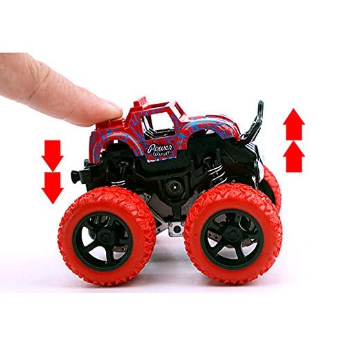 DEORBOB 4 muelles de choque independientes Tire hacia atrás Monster Car Stunt Spinning Inercia Vehículo 4WD Vehículos motorizados por fricción Camión todoterreno Diecast Niños de 3 a 8 años Niñas para