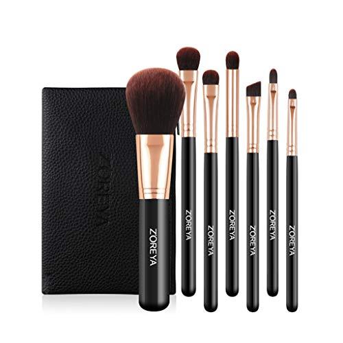 ASKLKD Pinceau de maquillage 7 pièces pinceau de maquillage, avancée synthétique Pinceau fond de teint avec sac de maquillage, poudre mixte, Correcteur, fard à paupières, maquillage, sac Brosse Pincea