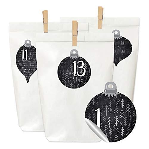 Adventskalender om te vullen en te knutselen, complete set, 24 witte papieren zakken, 24 stickers met cijfers en 24 houten klemmen, voor kinderen en volwassenen Kerstballen zwart