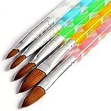 5 pinceles de manicura, para acrílico y gel UV, en tamaños 4, 6, 8, 10 y 12.