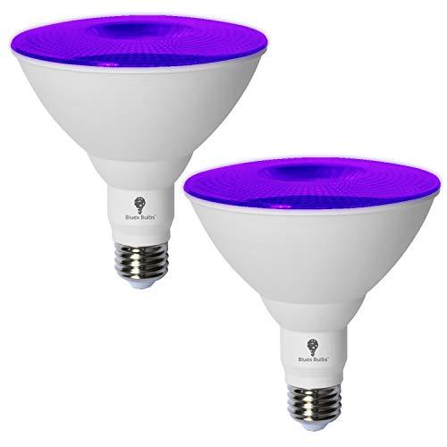 2 Pack BlueX LED Par38 Flood Purple Light Bulb - 18W (120Watt Equivalent) - Dimmable - E26 Base Purple LED Lights, Party Decoration, Porch, Home Lighting, Holiday Lighting, Purple Flood Light