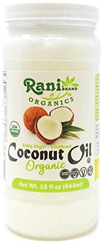 Rani Organic Extra Virgin Coconut Oil, Unrefined 15oz (444ml) Cold Pressed, Non-GMO   Gluten Free   Kosher   Vegan   100% Natural