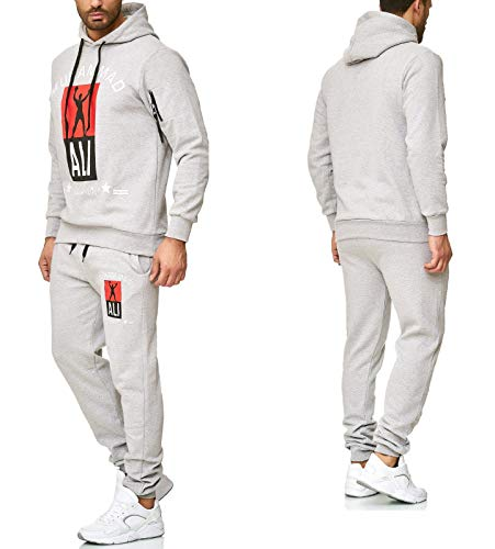 Herren Trainingsanzug Muhammad ALI Sportanzug Jogginganzug (Grau, XL)