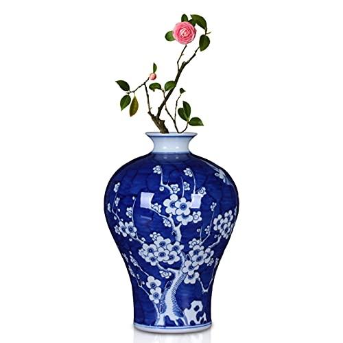 rzoizwko Jarrón de Porcelana Azul y Blanco Antiguo, florero de cerámica de colección de Arte de decoración de Oficina en casa, Altura 30 cm