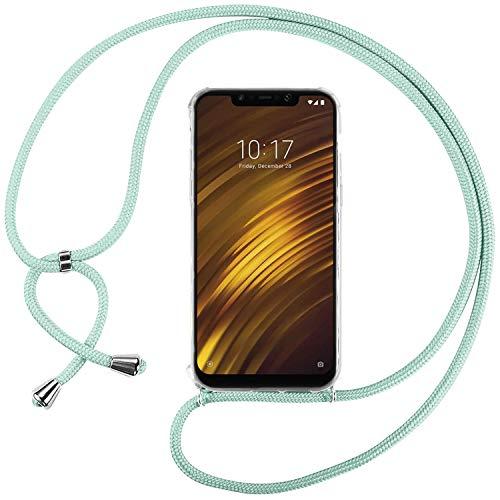 Ingen Funda con Cuerda para Xiaomi Pocophone F1 - Carcasa Transparente TPU Suave Silicona Case con Colgante - Verde