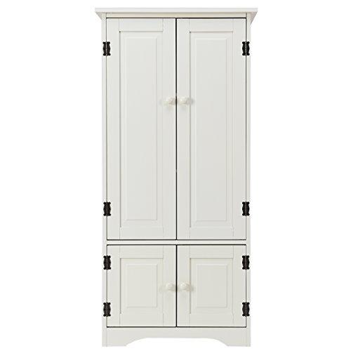 COSTWAY Wood Storage Cabinet, Adjustable Shelves Antique 4-Door Organizer Unit Chest, Large Kitchen Cupboard Tall Floor Sideboard Living Room Entryway Hallway Corner Bedroom, 59 x 32 x 123cm (Cream)