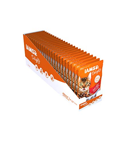 Iams Delights Nassfutter (für erwachsene Katzen, mit Saftiges Rind & Karotten in Gelee), 24 Frischebeutel (24 x 85 g)
