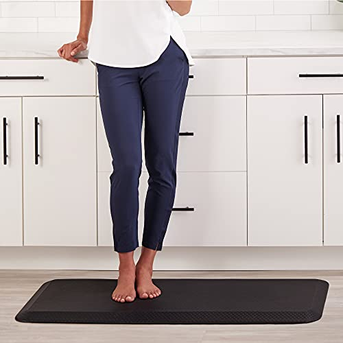 Kangaroo 3/4 Inch Thick Superior Cushion, Stain Resistant Kitchen Rug and Anti Fatigue Cushioned Foam Comfort Floor Padding, Office Stand Up Desk Mats, Washable Standing Decor Mat, 32x20, Black
