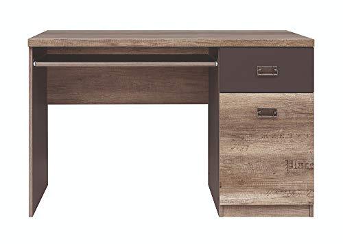 BOARDD - Mesa de trabajo para ordenador de mesa de ordenador con teclado extraíble Malcolm, cajón y compartimento, color roble monumento/gris Wolfram decoración, 65 x 77,5 x 120 cm