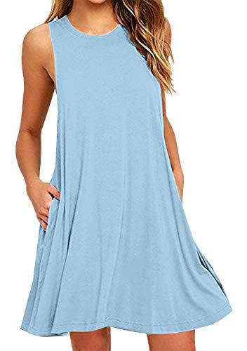 OMZIN Damen Tank Top mit Taschen Tunikakleid Sommerkleid Shirtkleid Lockeres Mini, M, Tasche-himmelblau