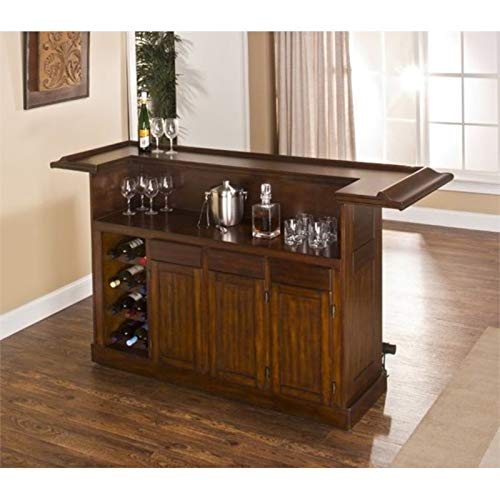 BOWERY HILL Large Home Bar Furniture Classic Solid Wood Stand Alone with Storage in Brown Cherry