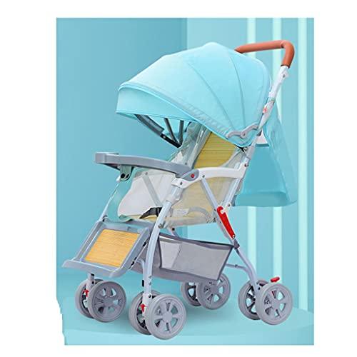 Yyqx sillas de Paseo Cochecito de bebé para Todas Las Estaciones Puede Sentarse mentir y Doblar el bambú Simple y la Silla de ratán, cochecitos para bebés. (Color : Mint Green, tamaño : A)