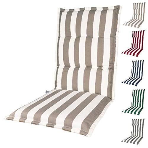 Kopu®-kussen hoge rug Mila Taupe | Tuinkussen voor standenstoelen | Taupe tuinkussen 125 x 50 cm | 5 verschillende kleuren | Stevig schuim voor extra comfort
