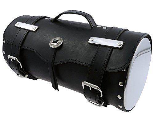 Gepäckrolle Gepäcktasche,1 Concho, Leder, Durchmesser 21 cm, Motorrad, Chopper