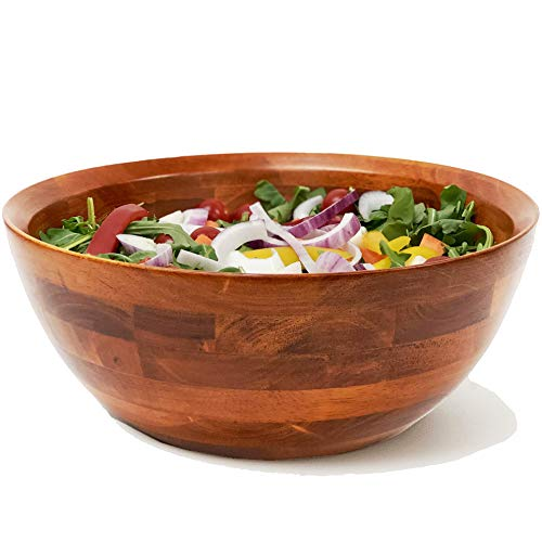"""Woodard & Charles Large Wooden Serving Bowl for Salads, Fruits, Popcorn, Pasta, 10"""" Diameter x 4.5"""" Height, 10' x 4.5', Cherry Stain"""
