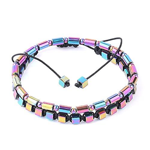 Beads Bracelet,Set Of 2 Fashion Bracelet Neon Hematite Natural Stone Magnetic Braided Bracelet Lucky Balance Bangle Yoga Jewelry Gift For Men Women