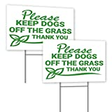 2 Pack - Keep Off Grass Sign 8x12 Inch - Plastic Coroplast Dog Poop Sign with Stakes - Stay Off Grass Signs - Keep Off Grass Signs for Yard - Curb Dog Lawn Sign - Stay Off Lawn Sign - Keep Dogs Off