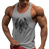JiXuan Entrenamiento Chaleco Gimnasios Camiseta Interior Fitness Tank Top Hombres Stringer Culturismo Muscle Shirt Grey S