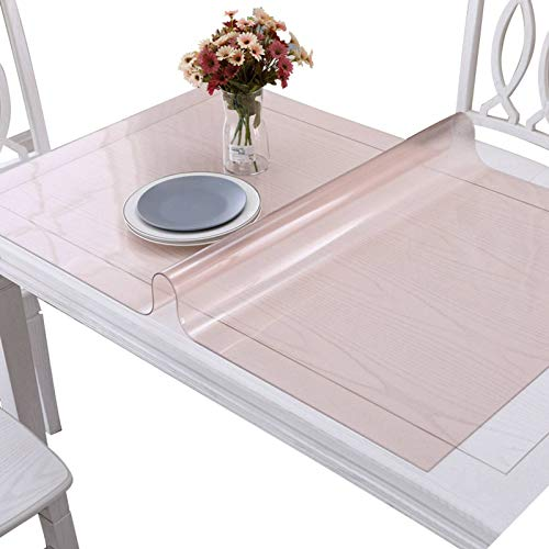 Soft Plastic Tablecloth, Clear Transparent PVC Table Cloth Waterproof Stain Resistant Table Cover for Dining Table Desk-Thick:3.0mm-80x135cm(31x53inch)