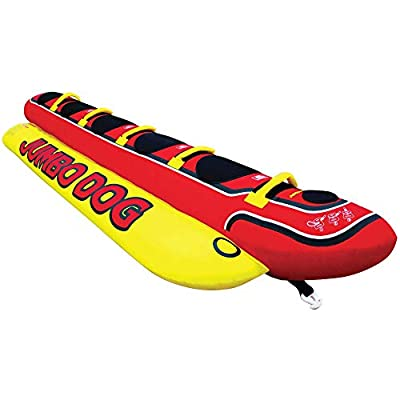 Airhead Jumbo Dog   1-5 Rider Towable Tube for Boating, Red, 150 inches Long X 44 inches Wide (HD-5)