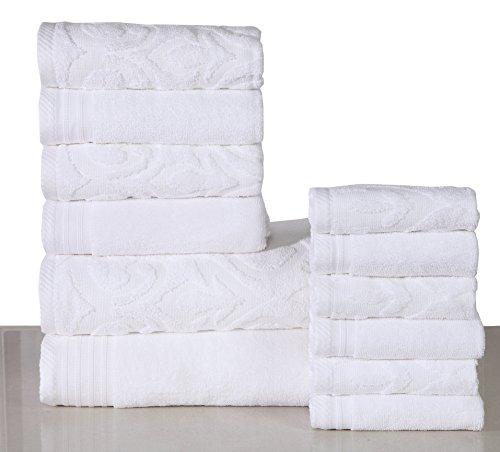 600 GSM Cotton 12 Piece Towel Set (White): 1 Jacquard and 1 Solid Bath Towel, 2 Jacquard and 2 Solid Hand Towels, 3 Jacquard and 3 Solid Washcloths, Long-staple Cotton, Absorbent, Machine Washable