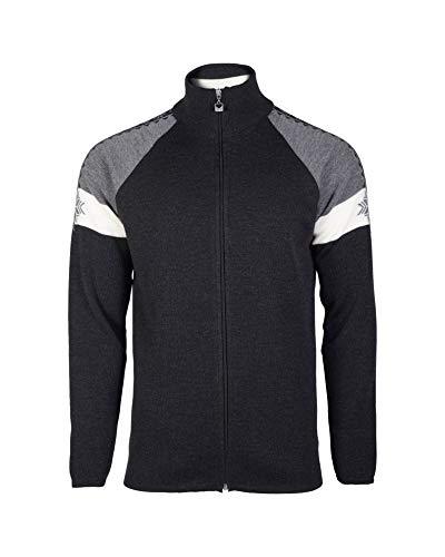 Dale of Norway Men's Geilo Merino Wool Masculine Jacket (Black/Off-White/Grey, Medium)