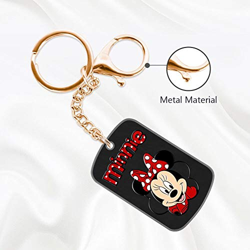 DISNEY COLLECTION Minnie Mouse Headshot Keychain Golden Handbag Purse Hanging Charms with Carabiner Clip Best Gift for Women Girls Men Husband Wife