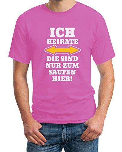 Shirtgeil Herren JGA Ich Heirate Die Saufen Hier T-Shirt L Rosa