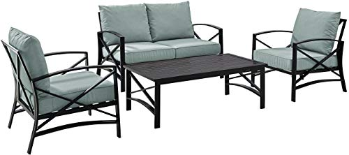 Crosley Furniture KO60009BZ-MI Kaplan Outdoor Metal 4-Piece Seating Set (Loveseat, 2 Arm Chairs and Coffee Table), Oiled Bronze with Mist Cushions