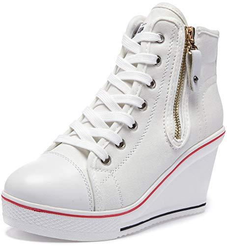 Solshine Damen Canvas Sneaker Wedge Turnschuhe mit 8cm Keilabsatz 689 Weiss 36EU