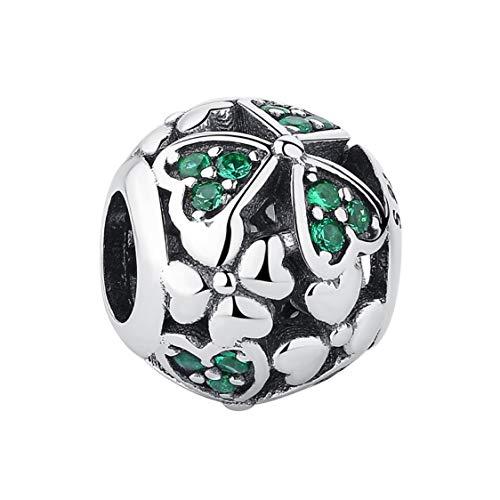 EvesCity Bolenvi - Abalorio de plata de ley 925 con diseño de trébol verde cristalizado para pulseras y collares - El mejor regalo para el día de San Patricio irlandés