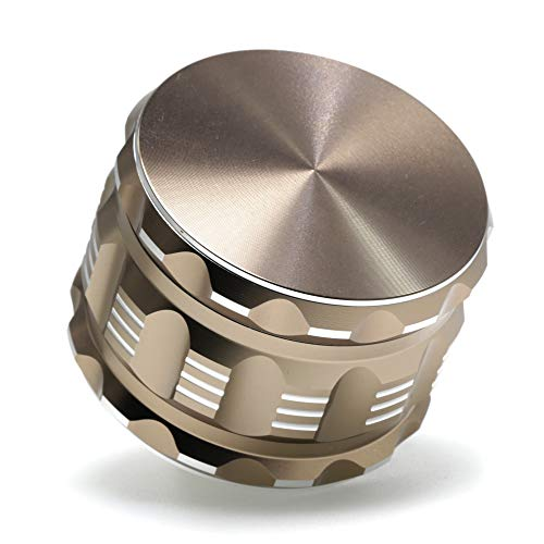 2.5 inch 4 layer aviation aluminum CNC engraving Herb grinder spice crusher (Light Brown)