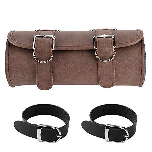 Sacoche de moto, sacoche de selle rigide universelle pour moto, sac de rangement pour outils, Style Vintage marron avec sangle, cuir PU